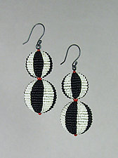 Black and White Beaded Bead Earrings with Coral Accents by Julie Long Gallegos (Beaded Earrings)