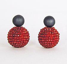 Carnelian Orb Earrings with Oxidized Silver by Julie Long Gallegos (Beaded Earrings)