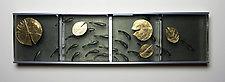 Kakejiku-Baby Koi with Lotus Leaves by Tomo Sakai and Eric Cruze (Art Glass Wall Sculpture)