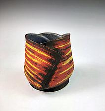 Folded Cup I - Orange, Yellow & Black by Thomas Harris (Ceramic Cup)