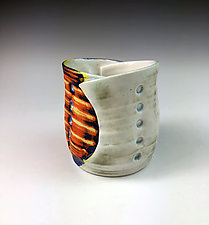 Folded Cup I - Orange, Yellow & White by Thomas Harris (Ceramic Cup)