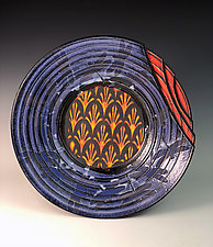 Plate with Layered Fleurs de Lis and Dragonflies II by Thomas Harris (Ceramic Platter)
