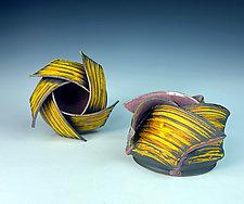 Yellow Spiral Ikebana by Thomas Harris (Ceramic Vase)