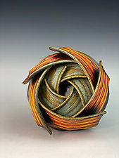 Double Spiral Ikebana by Thomas Harris (Ceramic Vase)