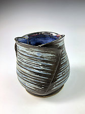 Folded Cup I - Blue by Thomas Harris (Ceramic Cup)