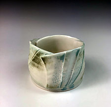 Folded Cup I - Blue, Green & Cream by Thomas Harris (Ceramic Cup)