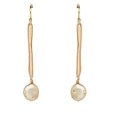 Twig Gold Pearl Earrings by Julie Cohn (Gold, Pearl & Bronze Earrings)