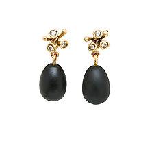 Blossom Bronze Obsidian Earrings by Julie Cohn (Bronze & Stone Earrings)