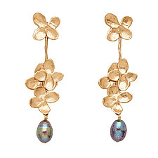 Hydrangea Blossom Bronze Gray Pearl Earring by Julie Cohn (Bronze and Pearl Earrings)