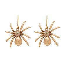 Black Widow Spider Bronze Earring by Julie Cohn (Bronze & Stone Earrings)