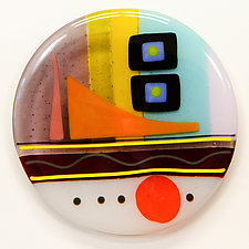 Synergy Seven Round Four by Mary Johannessen (Art Glass Wall Sculpture)