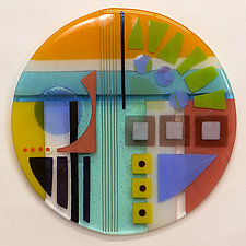 Synergy Fifteen Round One by Mary Johannessen (Art Glass Wall Sculpture)
