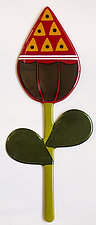 Red Flower Bud by Mary Johannessen (Art Glass Wall Sculpture)