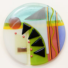 Synergy Seven Round Two by Mary Johannessen (Art Glass Wall Sculpture)