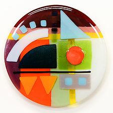 Synergy Seven Round Five by Mary Johannessen (Art Glass Wall Sculpture)