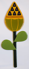Yellow Flower Bud by Mary Johannessen (Art Glass Wall Sculpture)