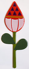 Orange Flower Bud by Mary Johannessen (Art Glass Wall Sculpture)