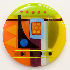 Synergy Seven Round One by Mary Johannessen (Art Glass Wall Sculpture)