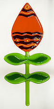 Bold and Beautiful Wallflowers: Orange Surprise by Mary Johannessen (Art Glass Wall Sculpture)