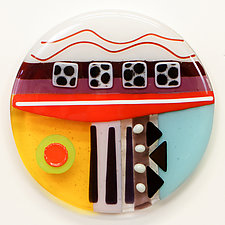 Synergy Seven Round Three by Mary Johannessen (Art Glass Wall Sculpture)
