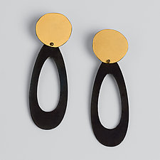 Gold and Black Dangle Earrings by Maia Leppo (Gold & Steel Earrings)