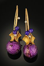 Sugilite & Amethyst Earrings by Rosario Garcia (Gold & Stone Earrings)