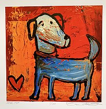 Blue Pup Love by Barbara Gilhooly (Giclee Print)