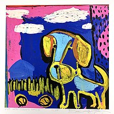 Pup with Two Tennis Balls by Barbara Gilhooly (Giclee Print)