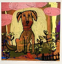 Pup Among the Daisies by Barbara Gilhooly (Giclee Print)