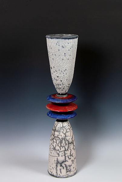 Naked Raku Cone Stack with Blue and Red Disks