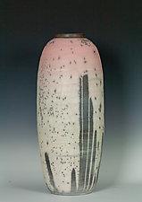 Large Naked Raku Vessel in Pink to White by Frank Nemick (Ceramic Vessel)