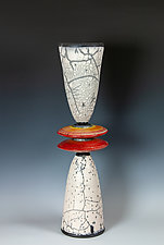Naked Raku Stack with Red and Orange Disks by Frank Nemick (Ceramic Sculpture)