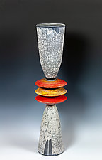Naked Raku Cone Stack with Red and Orange Disks by Frank Nemick (Ceramic Sculpture)