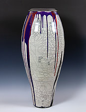 Glazed Raku Vessel with Red and Purple by Frank Nemick (Ceramic Sculpture)