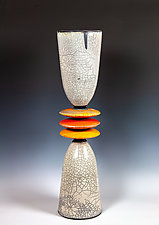 Glazed Cone Sculpture in White, Orange, and Red by Frank Nemick (Ceramic Sculpture)