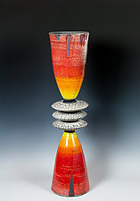 Cone Stack, Glazed and Naked Raku by Frank Nemick (Ceramic Sculpture)