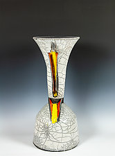 Glazed Raku in White with Reds and Yellow by Frank Nemick (Ceramic Sculpture)