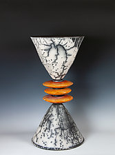 Naked Raku Stack in Whites, Blacks, and Coral by Frank Nemick (Ceramic Sculpture)