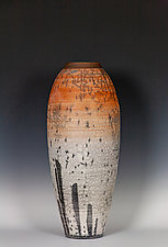 Tall Naked Raku Vessel in Oranges and Whites by Frank Nemick (Ceramic Vessel)