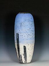 Naked Raku Vessel in Blue to White 2 by Frank Nemick (Ceramic Vessel)