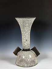 Raku Sculpture in White and Black II by Frank Nemick (Ceramic Sculpture)