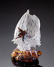 White Latticino Shell Sculpture with Auger Shell and Sea Star by Treg  Silkwood (Art Glass Sculpture)