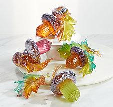 Autumn Acorns and Oak Leaf by Treg  Silkwood (Art Glass Sculpture)