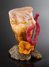 Vase Sponge on Brain Coral by Treg  Silkwood (Art Glass Sculpture)