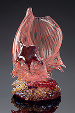 Apricot Latticino Shell Sculpture with Auger Shell and Sea Star by Treg  Silkwood (Art Glass Sculpture)