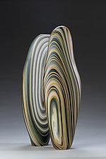 Smoky Blue Driftwood Pair by Treg  Silkwood (Art Glass Sculpture)