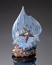 Aquamarine Latticino Shell Sculpture with Auger Shell and Sea Star by Treg  Silkwood (Art Glass Sculpture)