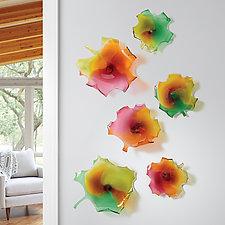 Falling Maple Leaf by Treg  Silkwood (Art Glass Wall Sculpture)