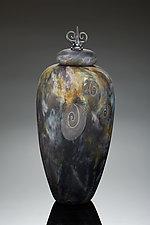 Black Stone Ammonite Urn by Treg  Silkwood (Art Glass Vessel)