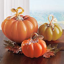 Festive Fall Pumpkins by Treg  Silkwood (Art Glass Sculpture)